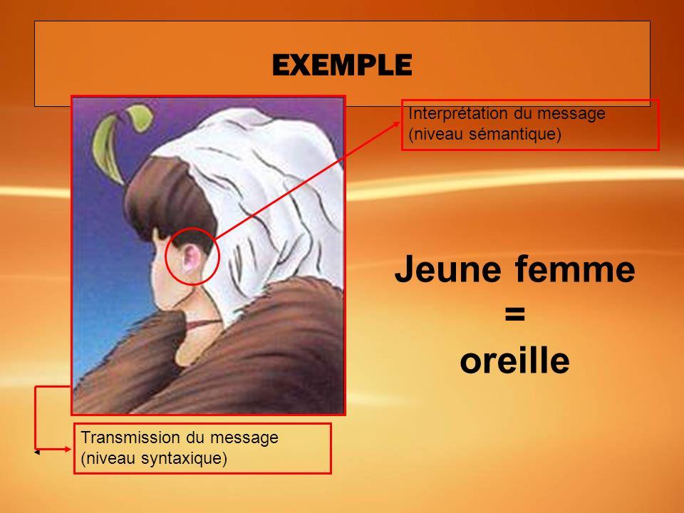 EXEMPLE Élément dinterprétation du message (niveau sémantique) Transmission du message (niveau syntaxique) Une oreille ou un œil?