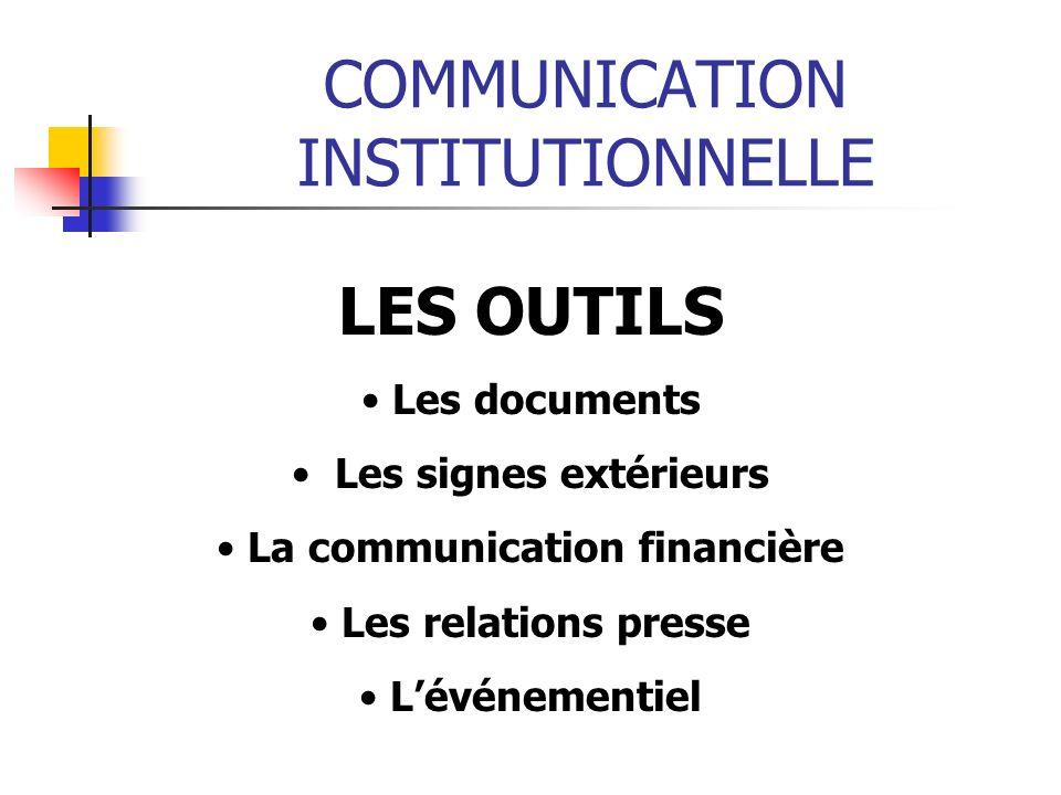 COMMUNICATION INSTITUTIONNELLE LES OUTILS Les documents Les signes extérieurs La communication financière Les relations presse Lévénementiel