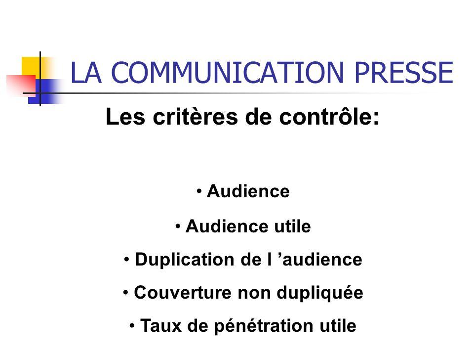 LA COMMUNICATION PRESSE Les critères de contrôle: Audience Audience utile Duplication de l audience Couverture non dupliquée Taux de pénétration utile