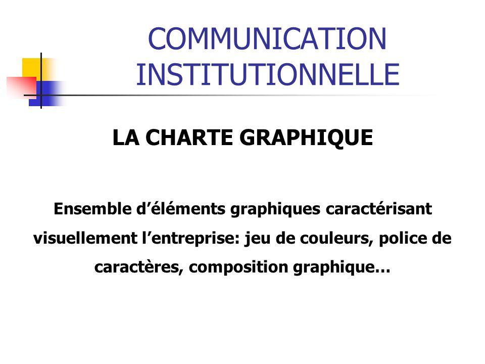 COMMUNICATION INSTITUTIONNELLE LA CHARTE GRAPHIQUE Ensemble déléments graphiques caractérisant visuellement lentreprise: jeu de couleurs, police de caractères, composition graphique…