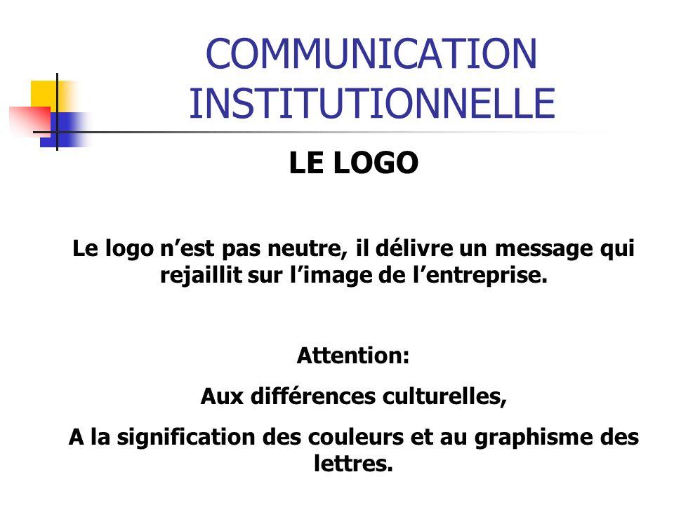 COMMUNICATION INSTITUTIONNELLE LE LOGO Le logo nest pas neutre, il délivre un message qui rejaillit sur limage de lentreprise. Attention: Aux différen