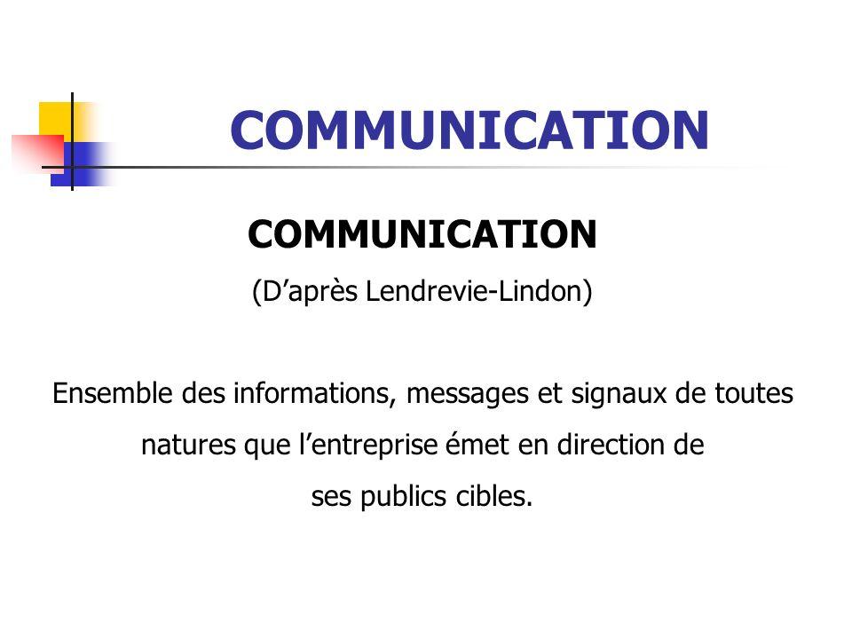 COMMUNICATION (Daprès Lendrevie-Lindon) Ensemble des informations, messages et signaux de toutes natures que lentreprise émet en direction de ses publ