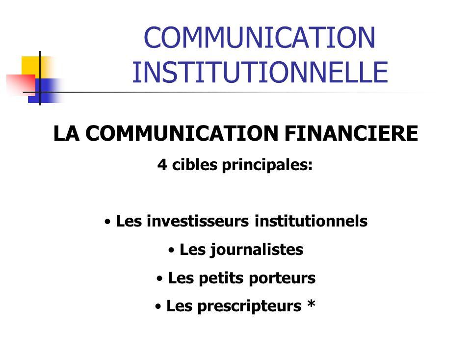 COMMUNICATION INSTITUTIONNELLE LA COMMUNICATION FINANCIERE 4 cibles principales: Les investisseurs institutionnels Les journalistes Les petits porteurs Les prescripteurs *