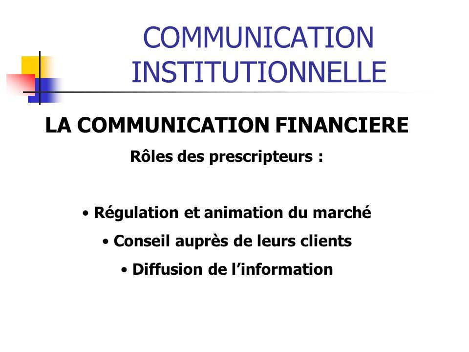 COMMUNICATION INSTITUTIONNELLE LA COMMUNICATION FINANCIERE Rôles des prescripteurs : Régulation et animation du marché Conseil auprès de leurs clients Diffusion de linformation