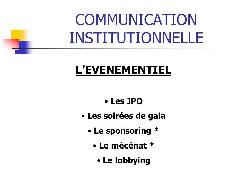 COMMUNICATION INSTITUTIONNELLE LEVENEMENTIEL Les JPO Les soirées de gala Le sponsoring * Le mécénat * Le lobbying