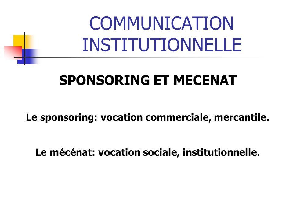 COMMUNICATION INSTITUTIONNELLE SPONSORING ET MECENAT Le sponsoring: vocation commerciale, mercantile. Le mécénat: vocation sociale, institutionnelle.