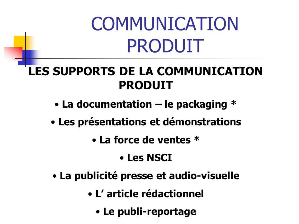 COMMUNICATION PRODUIT LES SUPPORTS DE LA COMMUNICATION PRODUIT La documentation – le packaging * Les présentations et démonstrations La force de vente