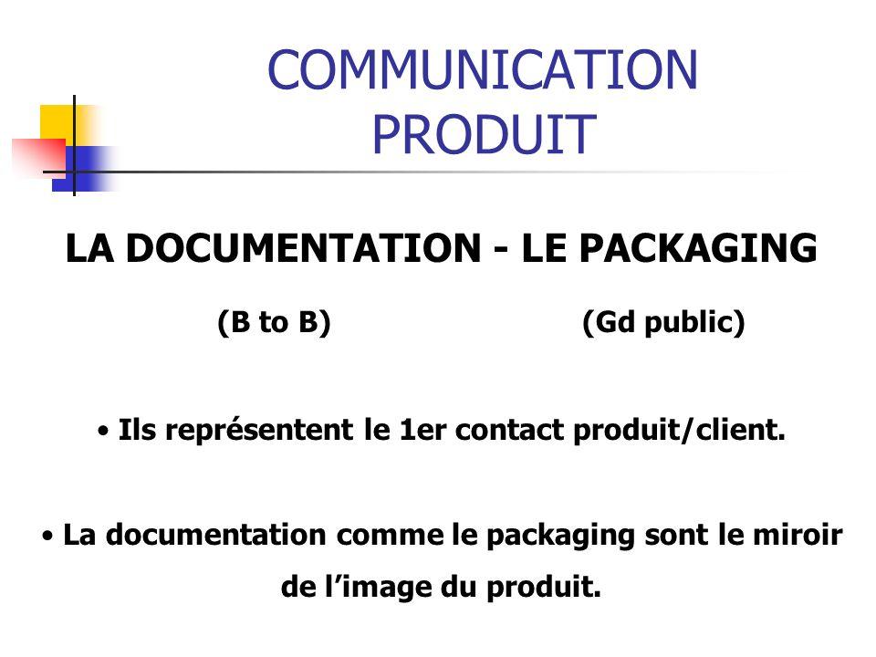 COMMUNICATION PRODUIT LA DOCUMENTATION - LE PACKAGING (B to B) (Gd public) Ils représentent le 1er contact produit/client. La documentation comme le p