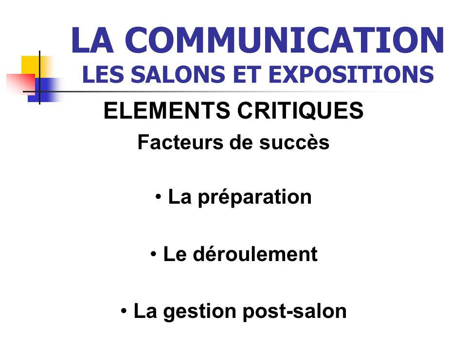 LA COMMUNICATION LES SALONS ET EXPOSITIONS ELEMENTS CRITIQUES Facteurs de succès La préparation Le déroulement La gestion post-salon