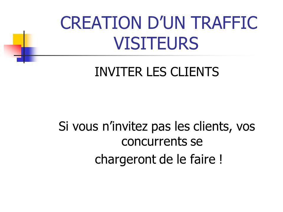 CREATION DUN TRAFFIC VISITEURS INVITER LES CLIENTS Si vous ninvitez pas les clients, vos concurrents se chargeront de le faire !