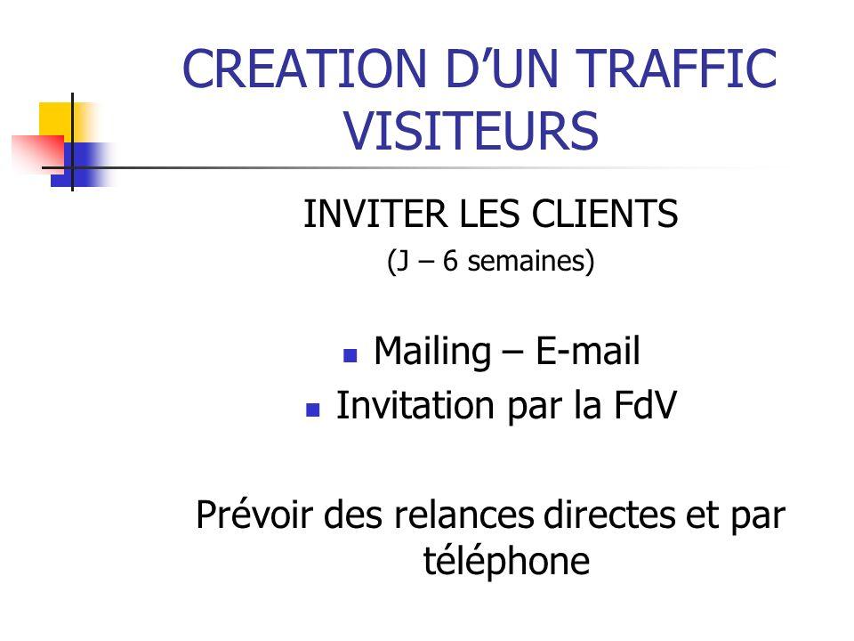 CREATION DUN TRAFFIC VISITEURS INVITER LES CLIENTS (J – 6 semaines) Mailing – E-mail Invitation par la FdV Prévoir des relances directes et par téléph