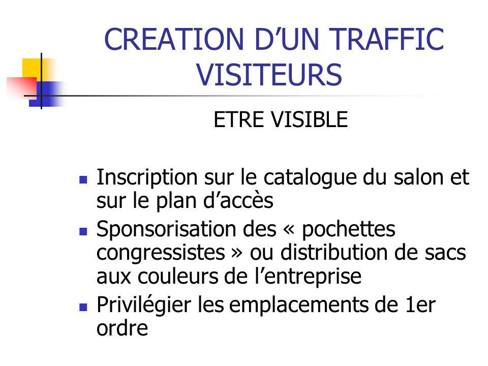 CREATION DUN TRAFFIC VISITEURS ETRE VISIBLE Inscription sur le catalogue du salon et sur le plan daccès Sponsorisation des « pochettes congressistes »