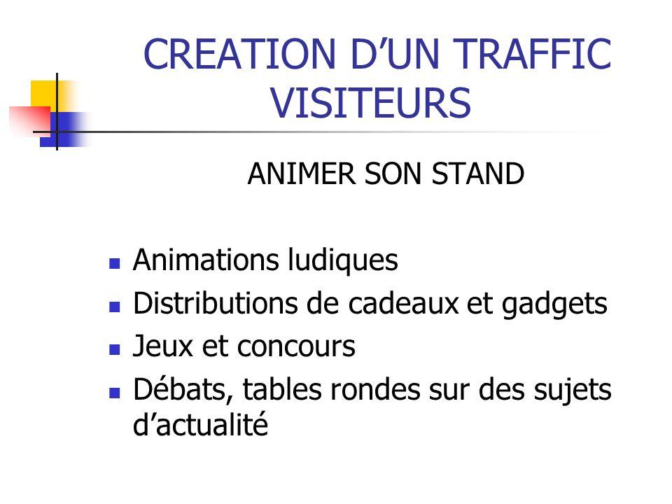 CREATION DUN TRAFFIC VISITEURS ANIMER SON STAND Animations ludiques Distributions de cadeaux et gadgets Jeux et concours Débats, tables rondes sur des sujets dactualité
