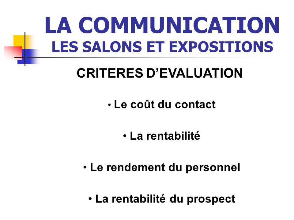 LA COMMUNICATION LES SALONS ET EXPOSITIONS CRITERES DEVALUATION Le coût du contact La rentabilité Le rendement du personnel La rentabilité du prospect