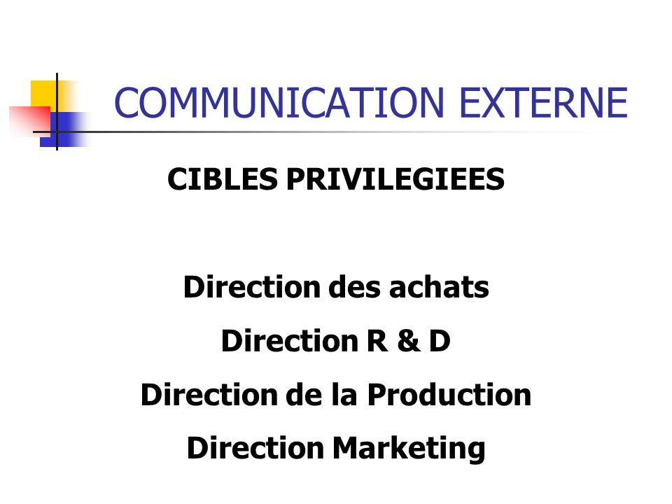 COMMUNICATION EXTERNE CIBLES PRIVILEGIEES Direction des achats Direction R & D Direction de la Production Direction Marketing