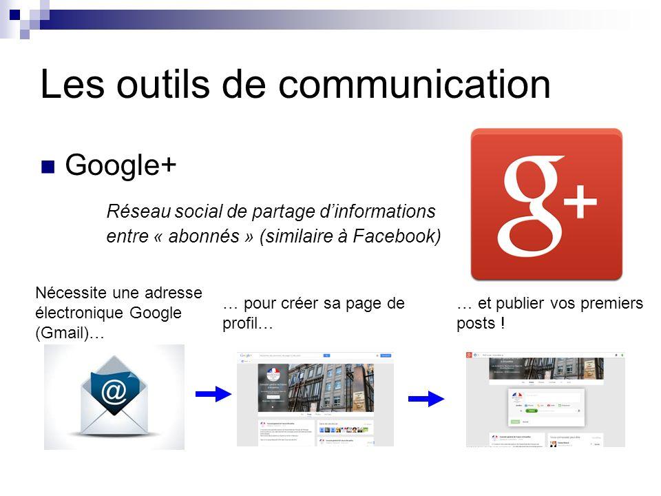 Les outils de communication Google+ Réseau social de partage dinformations entre « abonnés » (similaire à Facebook) Nécessite une adresse électronique Google (Gmail)… … pour créer sa page de profil… … et publier vos premiers posts !