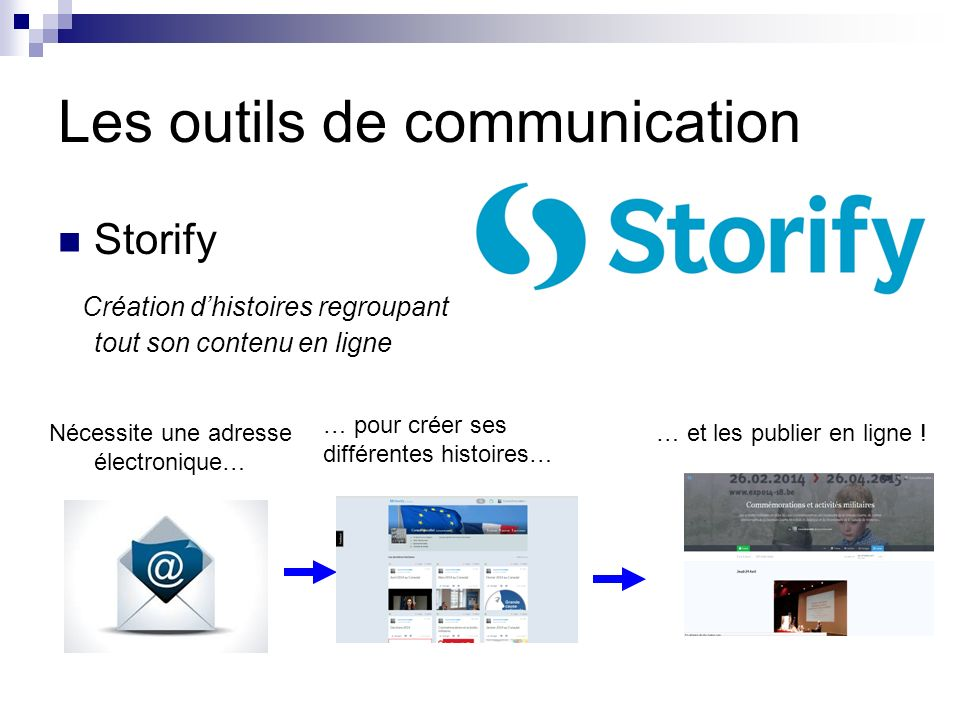 Les outils de communication Storify Création dhistoires regroupant tout son contenu en ligne Nécessite une adresse électronique… … pour créer ses différentes histoires… … et les publier en ligne !