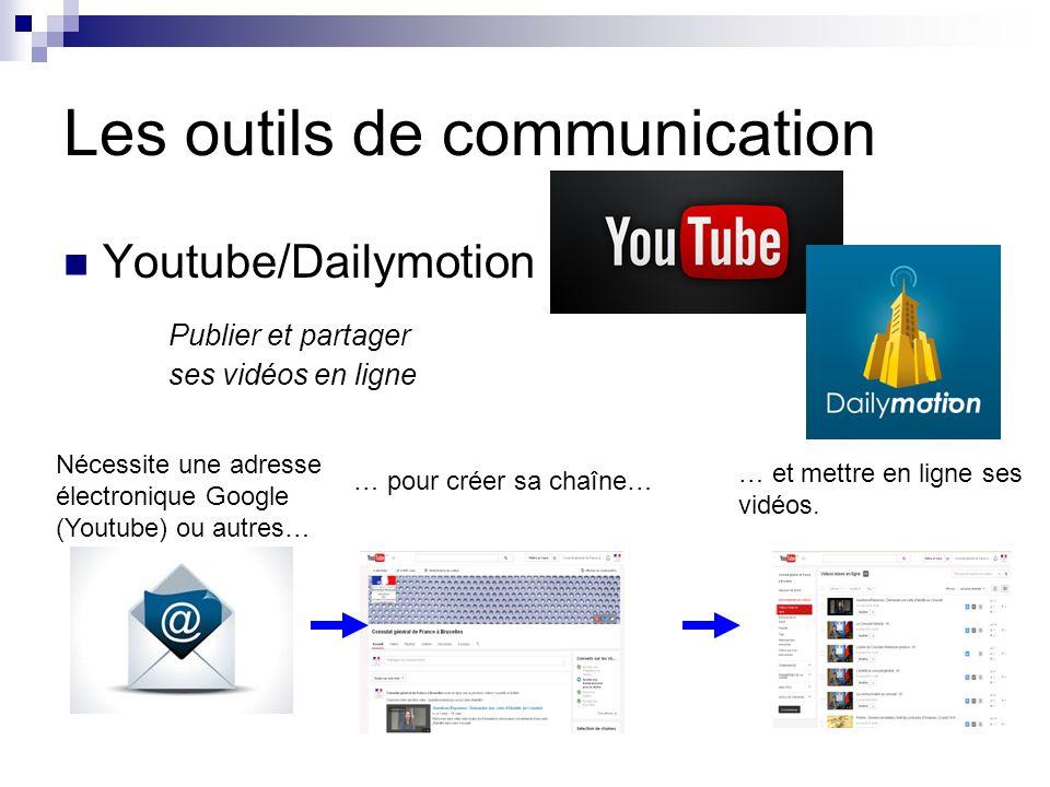 Les outils de communication Youtube/Dailymotion Publier et partager ses vidéos en ligne Nécessite une adresse électronique Google (Youtube) ou autres… … pour créer sa chaîne… … et mettre en ligne ses vidéos.
