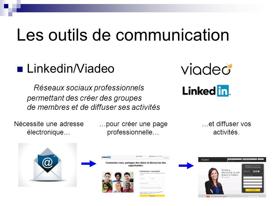 Les outils de communication Linkedin/Viadeo Réseaux sociaux professionnels permettant des créer des groupes de membres et de diffuser ses activités Nécessite une adresse électronique… …pour créer une page professionnelle… …et diffuser vos activités.