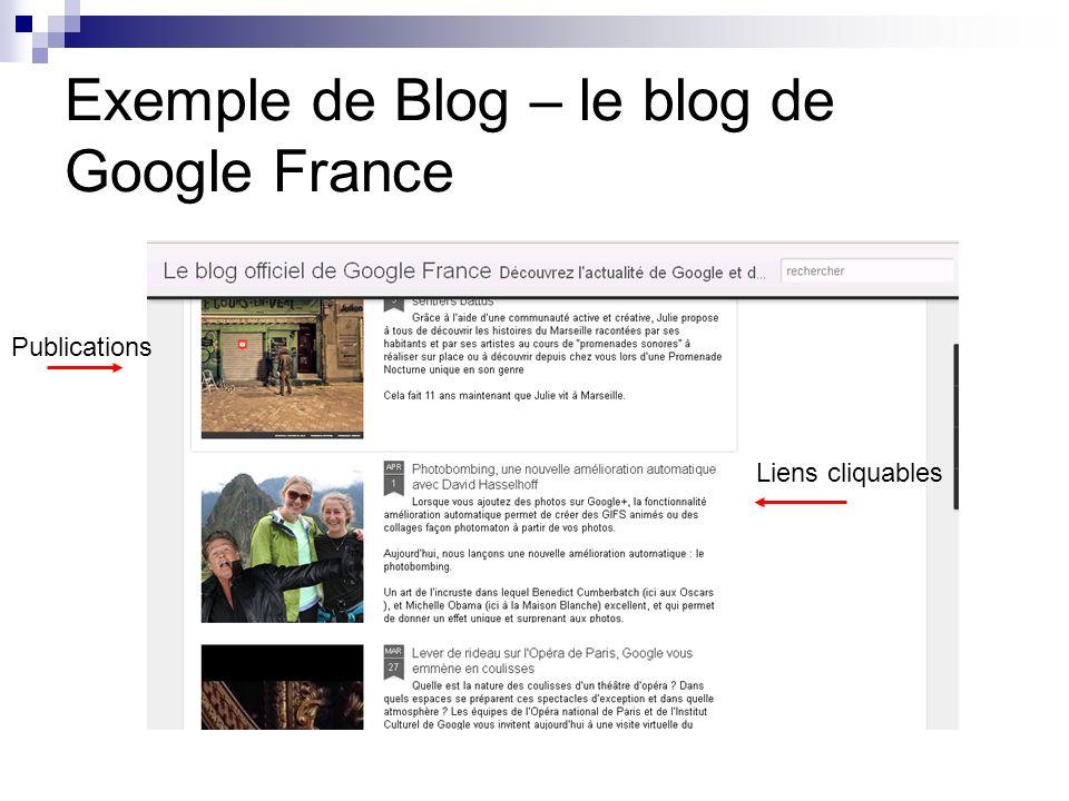 Exemple de Blog – le blog de Google France Publications Liens cliquables