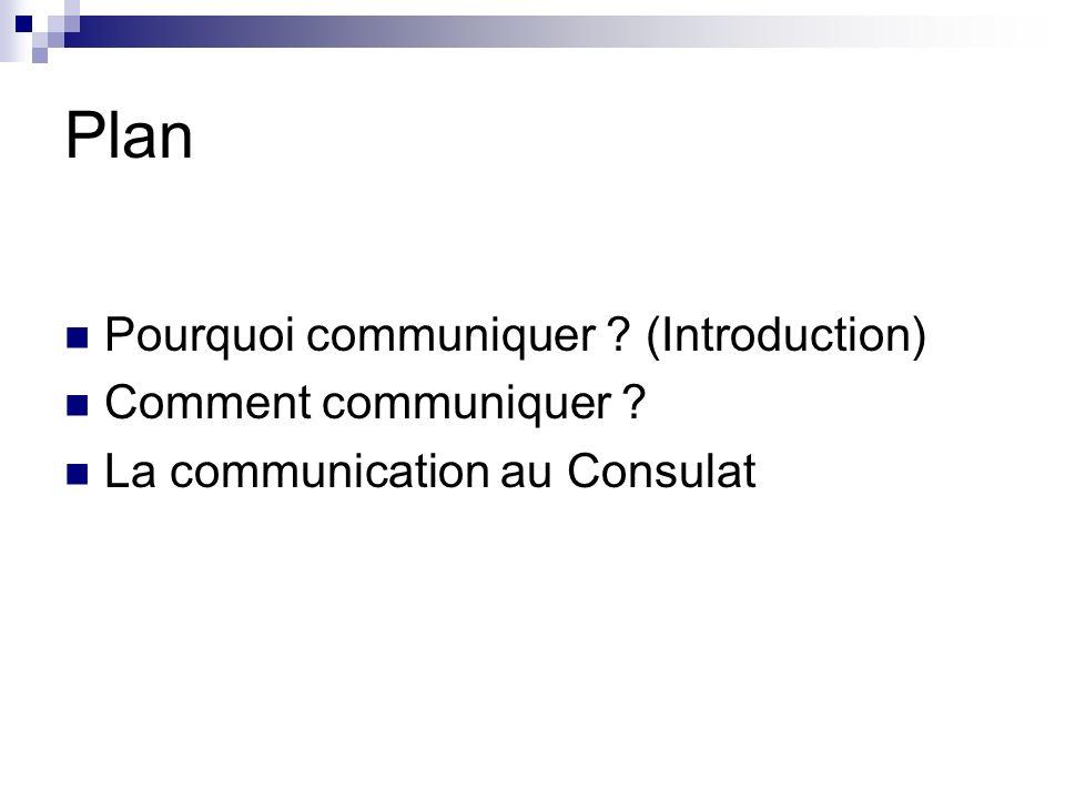 Plan Pourquoi communiquer ? (Introduction) Comment communiquer ? La communication au Consulat