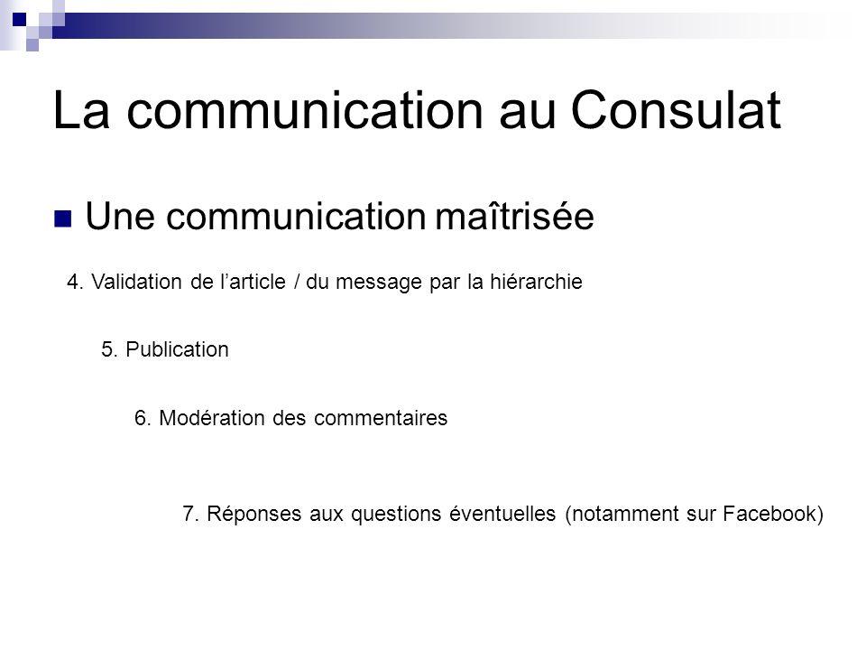 La communication au Consulat Une communication maîtrisée 4.