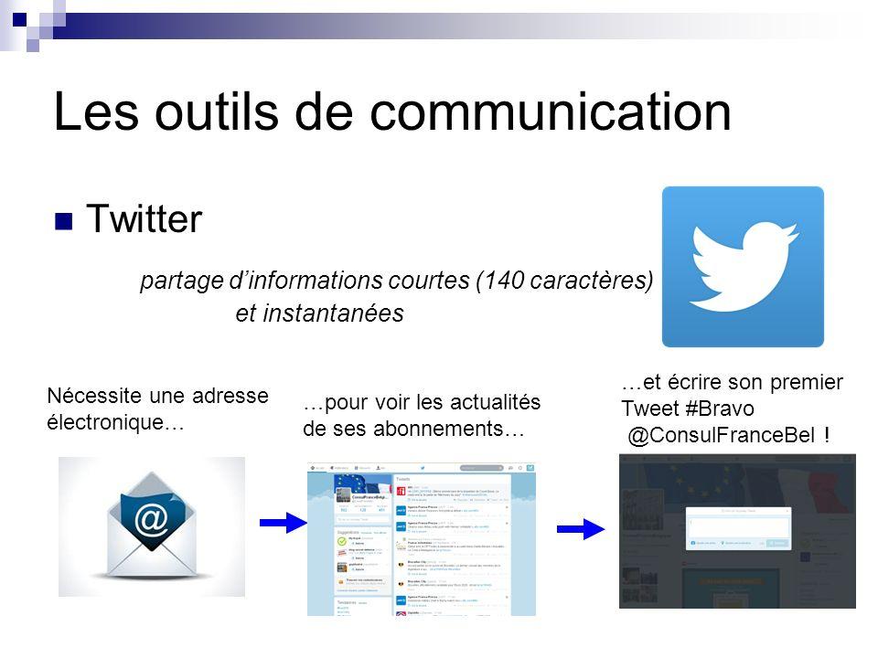 Les outils de communication Twitter partage dinformations courtes (140 caractères) et instantanées Nécessite une adresse électronique… …pour voir les actualités de ses abonnements… …et écrire son premier Tweet #Bravo @ConsulFranceBel !