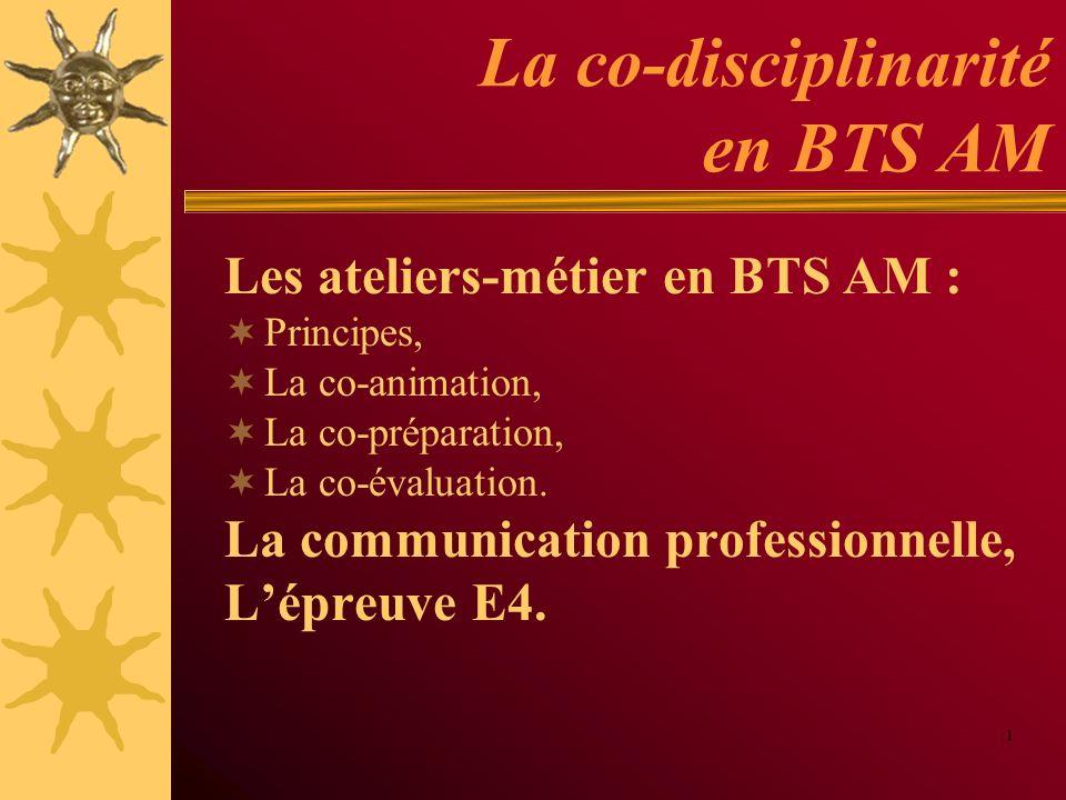 La co-disciplinarité en BTS AM Les ateliers-métier en BTS AM : Principes, La co-animation, La co-préparation, La co-évaluation. La communication profe