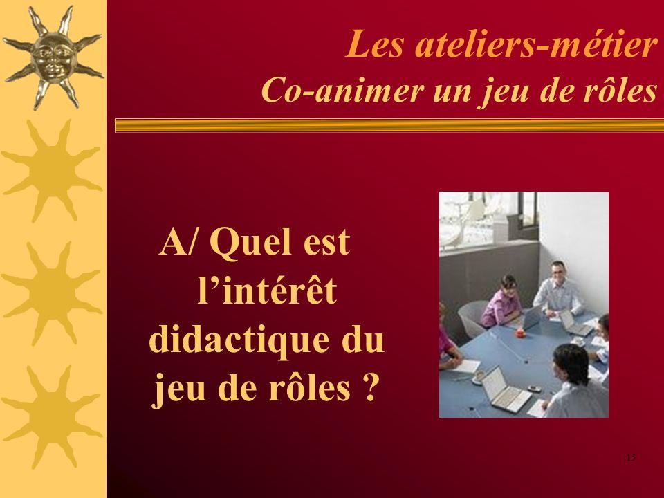 Les ateliers-métier Co-animer un jeu de rôles A/ Quel est lintérêt didactique du jeu de rôles ? 15