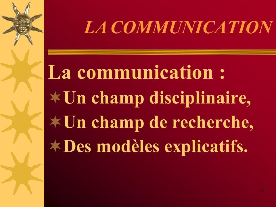 LA COMMUNICATION La communication : Un champ disciplinaire, Un champ de recherche, Des modèles explicatifs. 34