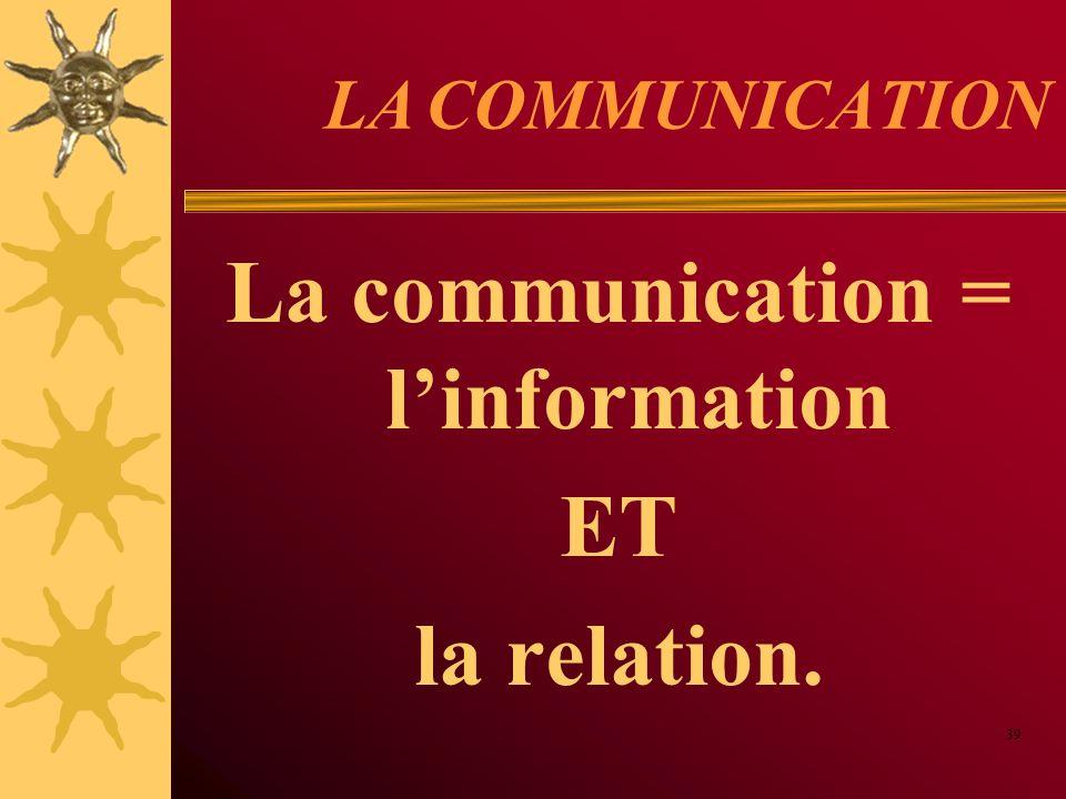 LA COMMUNICATION La communication = linformation ET la relation. 39