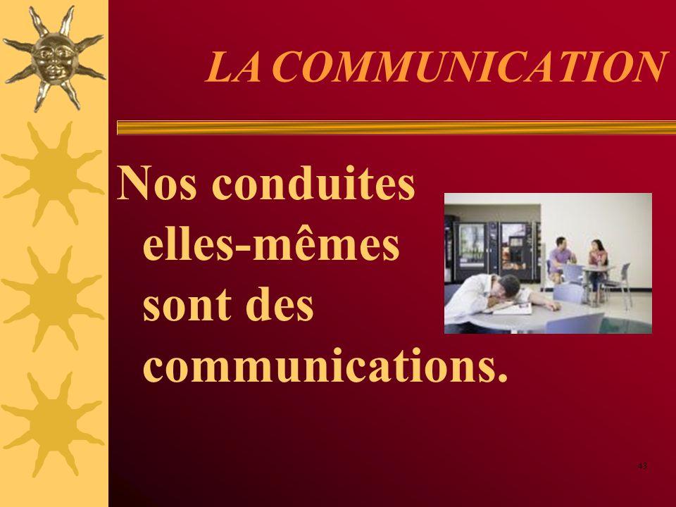LA COMMUNICATION Nos conduites elles-mêmes sont des communications. 43