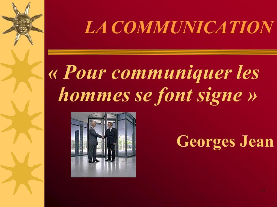LA COMMUNICATION « Pour communiquer les hommes se font signe » Georges Jean 45
