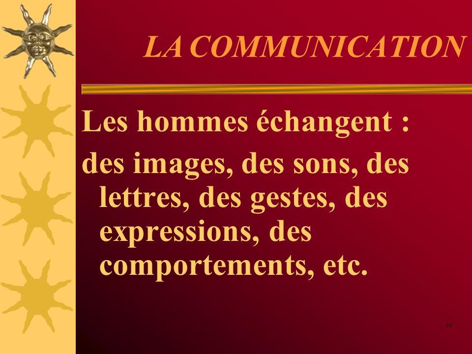 LA COMMUNICATION Les hommes échangent : des images, des sons, des lettres, des gestes, des expressions, des comportements, etc. 46