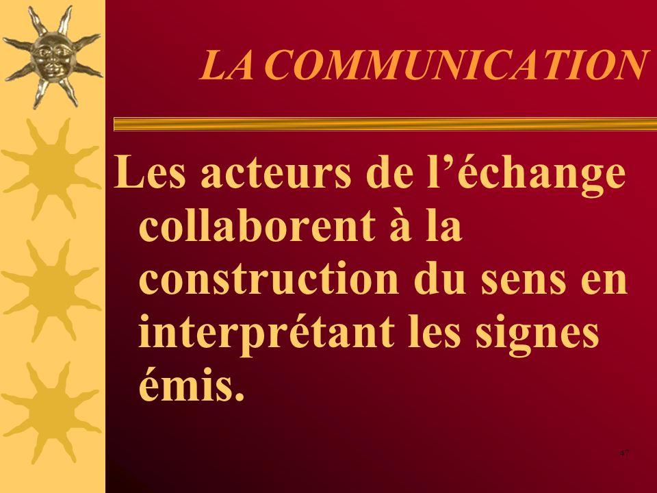 LA COMMUNICATION Les acteurs de léchange collaborent à la construction du sens en interprétant les signes émis. 47