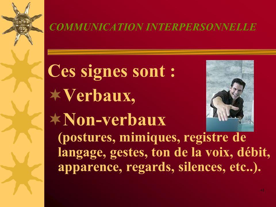 COMMUNICATION INTERPERSONNELLE Ces signes sont : Verbaux, Non-verbaux (postures, mimiques, registre de langage, gestes, ton de la voix, débit, apparen