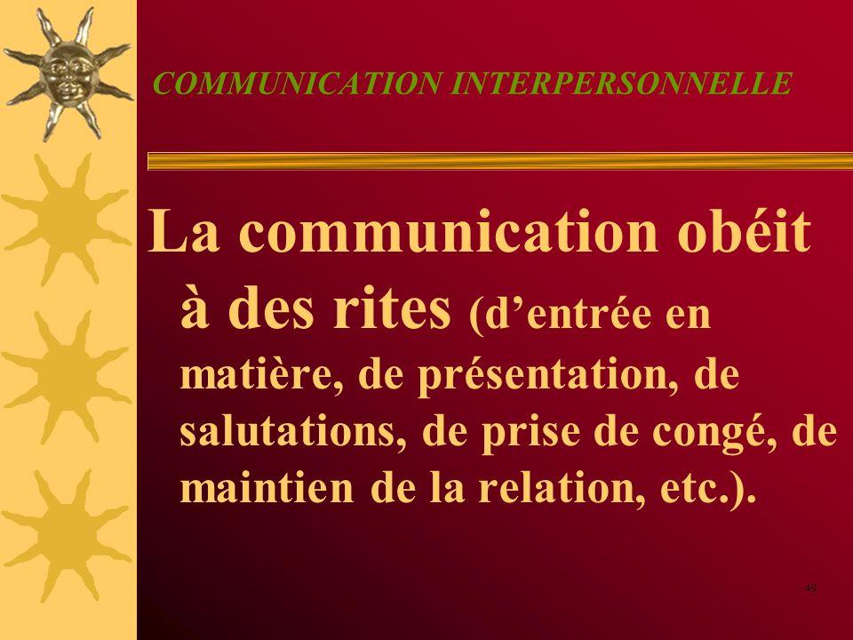 COMMUNICATION INTERPERSONNELLE La communication obéit à des rites (dentrée en matière, de présentation, de salutations, de prise de congé, de maintien