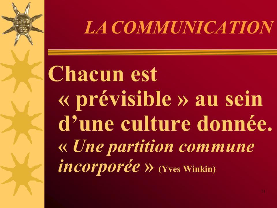 LA COMMUNICATION Chacun est « prévisible » au sein dune culture donnée. « Une partition commune incorporée » (Yves Winkin) 51