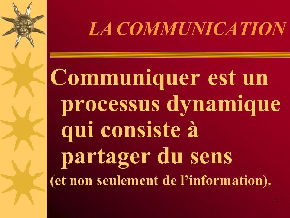 LA COMMUNICATION Communiquer est un processus dynamique qui consiste à partager du sens (et non seulement de linformation). 52