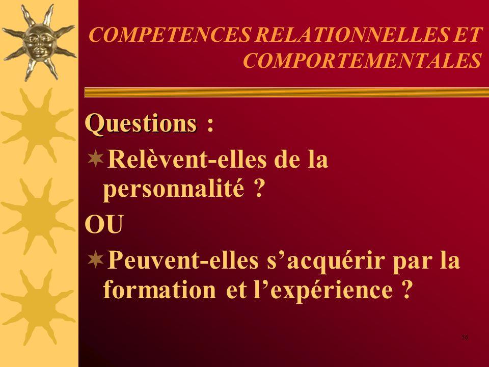 COMPETENCES RELATIONNELLES ET COMPORTEMENTALES Questions Questions : Relèvent-elles de la personnalité ? OU Peuvent-elles sacquérir par la formation e
