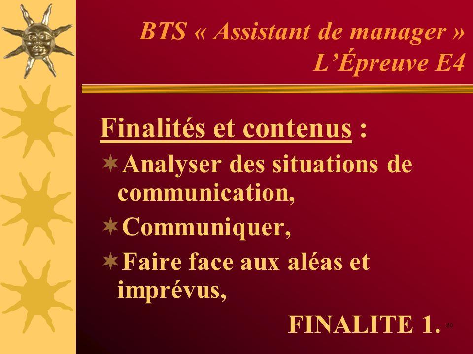 BTS « Assistant de manager » LÉpreuve E4 Finalités et contenus : Analyser des situations de communication, Communiquer, Faire face aux aléas et imprév