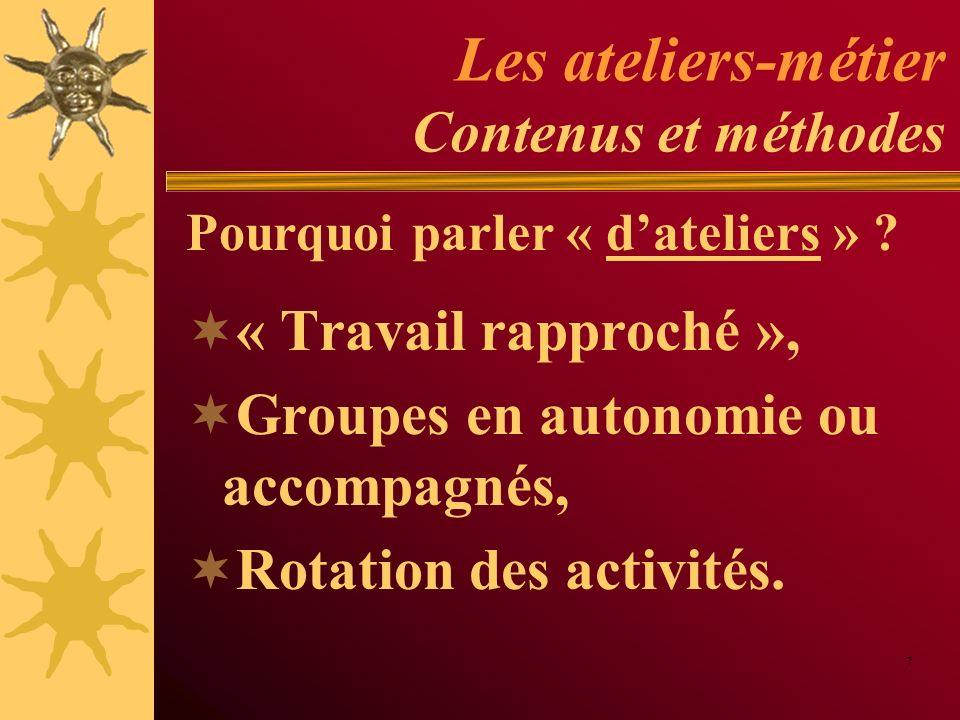 Les ateliers-métier Contenus et méthodes Exemples Simulations (jeux de rôles), Observation et analyse de situations, Verbalisation et partage dexpériences, Auto-formation, etc.