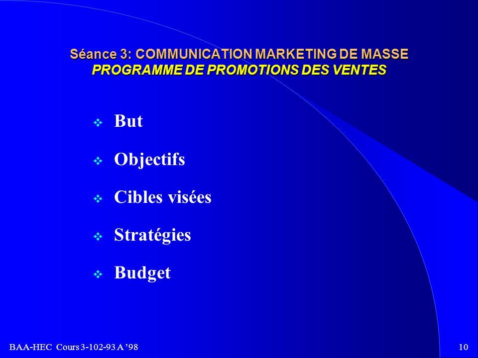 BAA-HEC Cours 3-102-93 A 989 Séance 3: COMMUNICATION MARKETING DE MASSE PROGRAMME DE PUBLICITÉ 8 Budget 8 Objectifs spécifiques 8 Clientèle cible 8 Mé