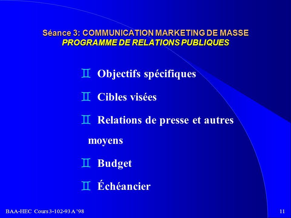 BAA-HEC Cours 3-102-93 A 9810 Séance 3: COMMUNICATION MARKETING DE MASSE PROGRAMME DE PROMOTIONS DES VENTES v But v Objectifs v Cibles visées v Stratégies v Budget