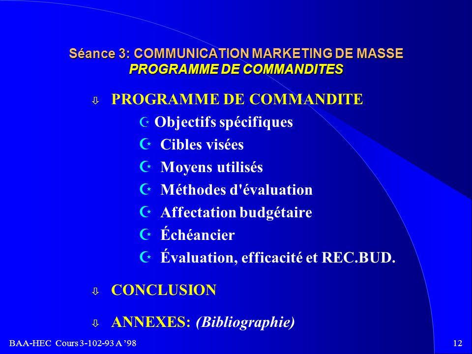 BAA-HEC Cours 3-102-93 A 9811 Séance 3: COMMUNICATION MARKETING DE MASSE PROGRAMME DE RELATIONS PUBLIQUES ` Objectifs spécifiques ` Cibles visées ` Re