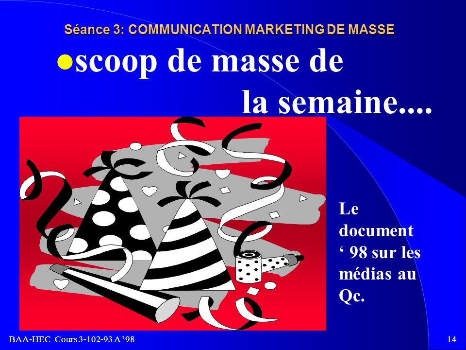 BAA-HEC Cours 3-102-93 A 9813 Séance 3: COMMUNICATION MARKETING DE MASSE l une présentation dun plan de CMM dans le cadre de ce cours:Le document. l U