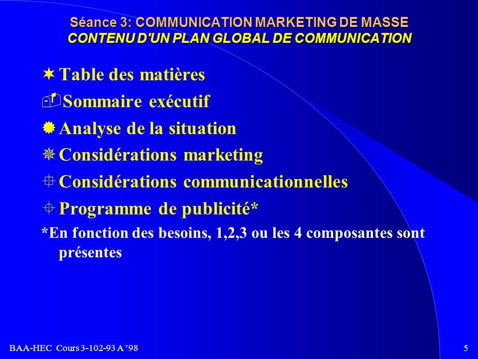 BAA-HEC Cours 3-102-93 A 984 Séance 3: COMMUNICATION MARKETING DE MASSE ÊPrésentation du briefing de la part de: Le Réseau HEC ËPériode de questions des agences briefing