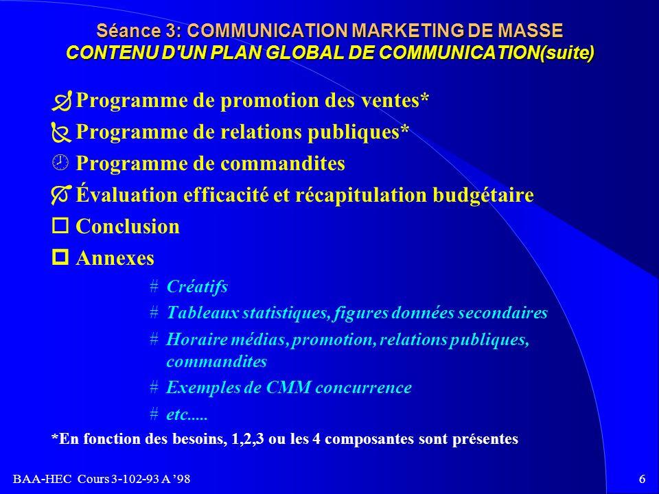 BAA-HEC Cours 3-102-93 A 985 Séance 3: COMMUNICATION MARKETING DE MASSE CONTENU D'UN PLAN GLOBAL DE COMMUNICATION ¬Table des matières Sommaire exécut