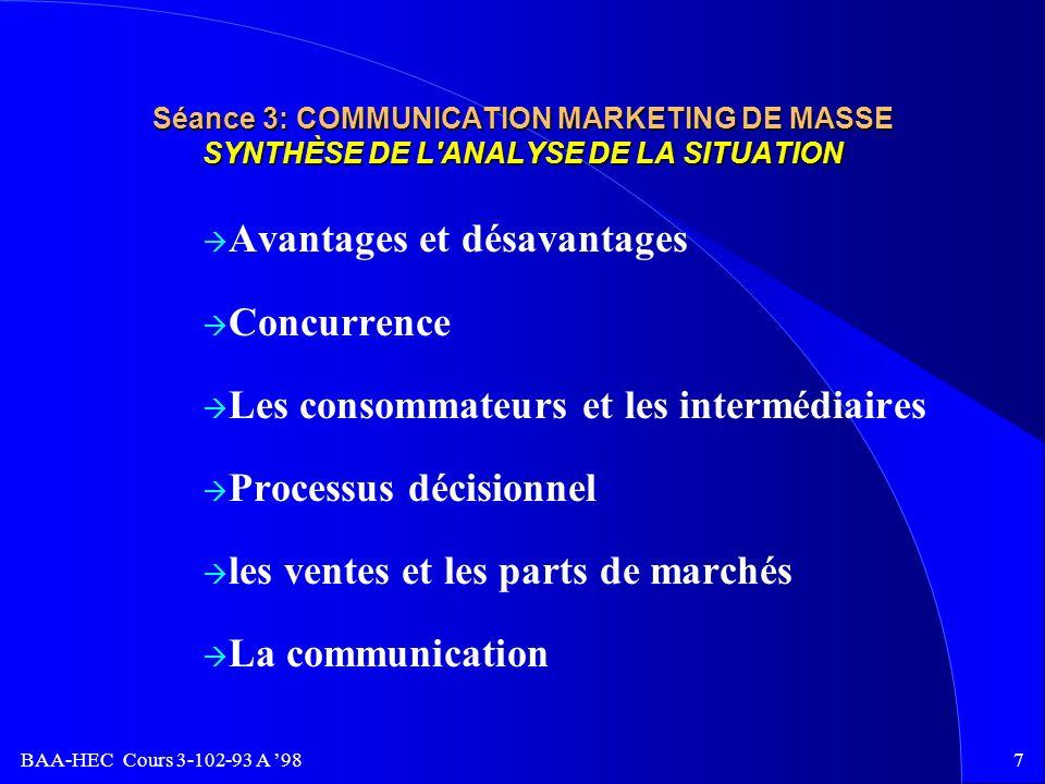 BAA-HEC Cours 3-102-93 A 986 Séance 3: COMMUNICATION MARKETING DE MASSE CONTENU D'UN PLAN GLOBAL DE COMMUNICATION(suite) ÐProgramme de promotion des v