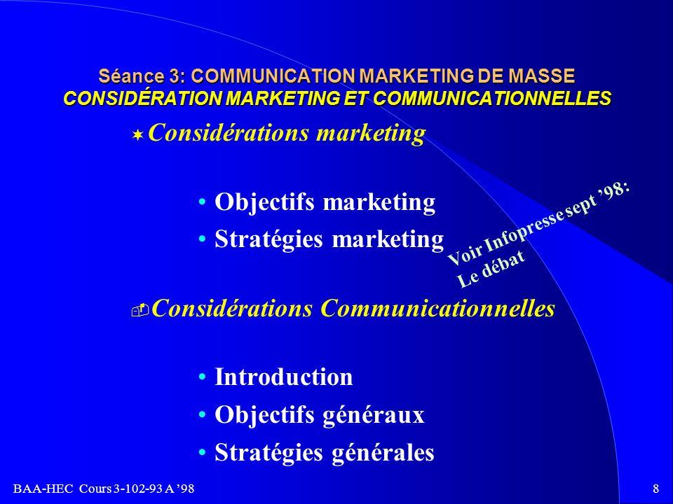 BAA-HEC Cours 3-102-93 A 987 Séance 3: COMMUNICATION MARKETING DE MASSE SYNTHÈSE DE L ANALYSE DE LA SITUATION à Avantages et désavantages à Concurrence à Les consommateurs et les intermédiaires à Processus décisionnel à les ventes et les parts de marchés à La communication